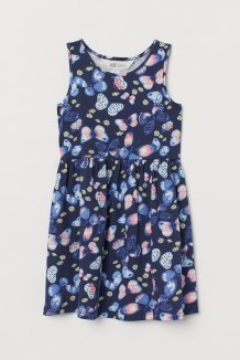 H&M Сарафан для девочки синий с бабочками и ромашками