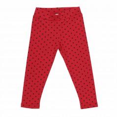 Wanex Леггинсы для девочки красные в чёрный горох с начёсом