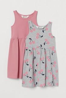 Комплект сарафанов детский серый с вишенками и розовый