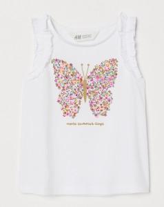 H&M Майка белая с бабочкой
