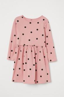 H&M Платье детское пудровое в черный горох