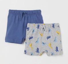H&M Комплект шорт детских серо-голубые с динозаврами