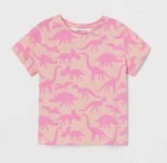 H&M Футболка для девочки розовая с динозаврами