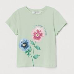 H&M Футболка для девочки зеленая с цветком