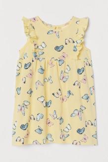 H&M Хлопковое платье для малышки жёлтое с бабочками