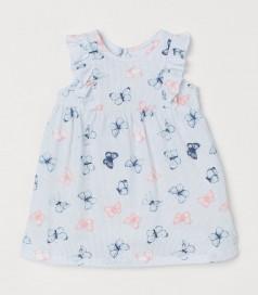 H&M Летнее платье для малышки голубое с бабочками