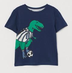 H&M Футболка детская синяя с динозавром