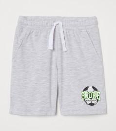 H&M Шорты для мальчика серые с футбольным мячом