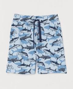 H&M Шорты для мальчика голубые с акулами