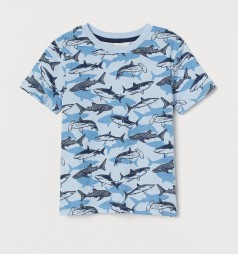 H&M Футболка для мальчика голубая с акулами