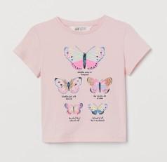 H&M Футболка для девочки розовая с бабочками