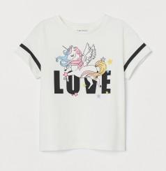 """H&M Футболка для девочки белая с единорогом """"Love"""""""