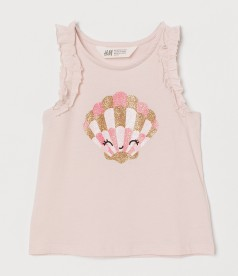 H&M Майка для девочки розовая с ракушкой