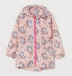 H&M Ветровка для девочки розовая с единорогами