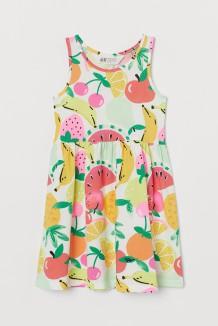 Сарафан для девочки белый с фруктами и ягодами