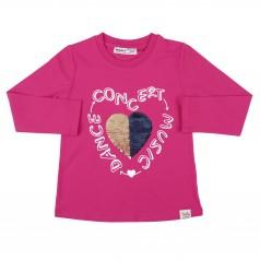Wanex Футболка с длинным рукавом для девочки с сердцем и пайетками- перевёртышами