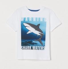 H&M Футболка детская белая с акулой