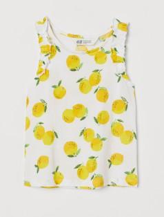 H&M Майка белая с лимонами