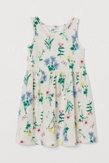 H&M Сарафан для девочки бежевый с растительным принтом