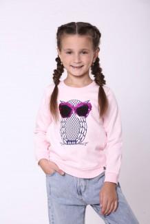Wanex Свитшот для девочки светло-розовый тёплый с пайетками-перевёртышами в виде совы