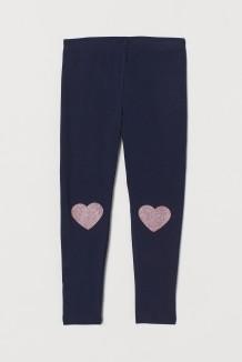 H&M Леггинсы для девочек синие с сердечками на коленях