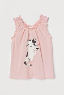 H&M Майка розовая с кошкой