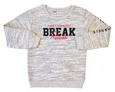"Wanex Свитшот для мальчика ""Breake"" серый с начёсом"