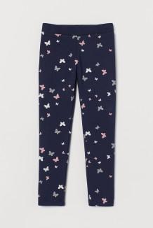 H&M Леггинсы для девочек синие с бабочками