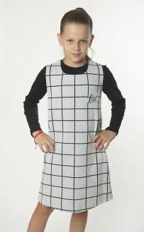 Wanex Костюм для девочки лонгслив и серый сарафан в клетку