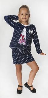 Wanex Костюм для девочки синий в горох кардиган юбка и белый лонгслив