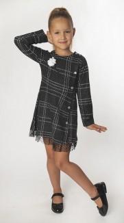 Wanex Платье с длинным рукавом для девочки в клетку серо-черное