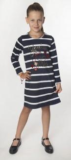 Wanex Платье с длинным рукавом для девочки в полоску бело-синее с пайетками