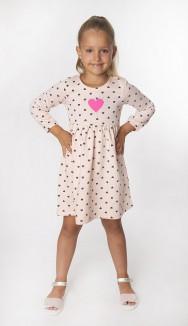 Платье с длинным рукавом для девочки персиковое в сердечках