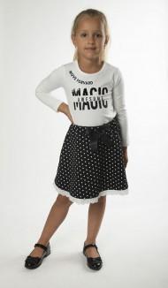 Wanex Костюм для девочки белый лонгслив и чёрная юбка в белый горох