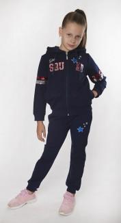 Wanex Спортивный костюм для девочки синий с пайетками-перевёртышами