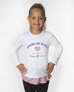Wanex Футболка-блузка с длинным рукавом для девочки белая