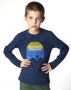 Футболка с длинным рукавом для мальчика синяя с принтом