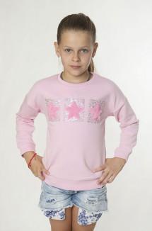 Свитшот для девочки тёплый розовый со стразами