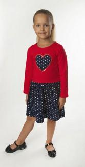Wanex Платье с длинным рукавом для девочки с сердцем  и синей юбкой в горох