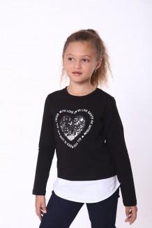 Wanex Футболка с длинным рукавом для девочки черная с сердцем