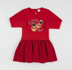 Wanex Платье с длинным рукавом для девочки красное юбка в горох