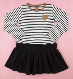 Платье с длинным рукавом для девочки бело-черное в полоску