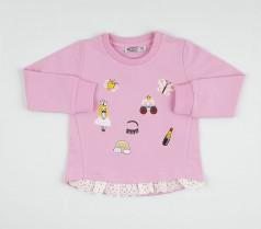 Wanex Свитшот для девочки розовый с аппликацией