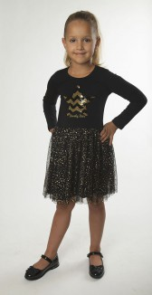 Wanex Платье с длинным рукавом для девочки чёрное со звездой из пайетое-перевертышей