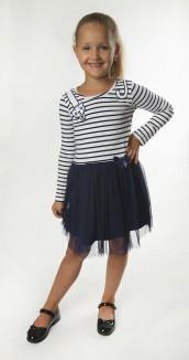 Wanex Платье с длинным рукавом для девочки с кошечкой на плече в полоску