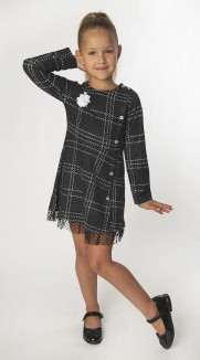 Wanex Платье с длинным рукавом детское в клетку серо-черное