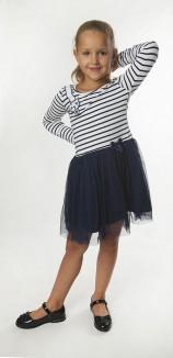 Wanex Платье с длинным рукавом детское в полоску с кошкой на плече и фатиновой юбкой