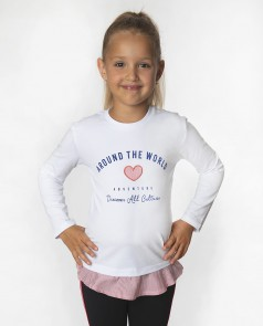 Wanex Футболка детская с длинным рукавом белая с текстовым принтом