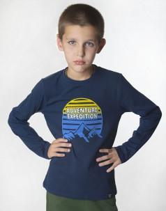 Wanex Футболка с длинным рукавом синяя с принтом