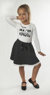 Wanex Комплект для девочки белый лонгслив и черная юбка в горох
